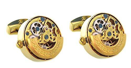 Unbekannt Edelstahl Manschettenknöpfe Uhr Uhrwerke beweglich vergoldet mit Besonderheit!! Keine Batterie!!! edles Herrenaccessoire zum Thema Uhr! + schwarzer Exklusivbox