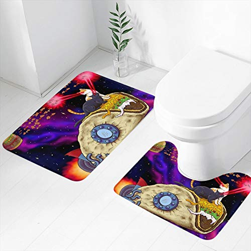 Alfombra de baño antideslizante para gatos en el espacio, 2 piezas, alfombrilla de baño antideslizante en forma de U, suave y cómoda para el suelo, la bañera y el dormitorio