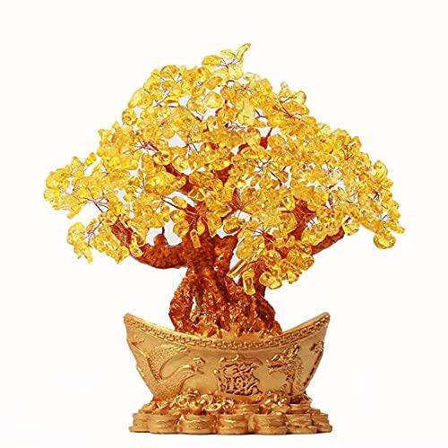 FICYEFIYC Feng Shui Yuan Bao Cristal de Cuarzo Natural Árbol de Dinero Decoración de Estilo Bonsai, decoración del hogar Atrae Riqueza y Buena Suerte Árbol Feng Shui Decoración