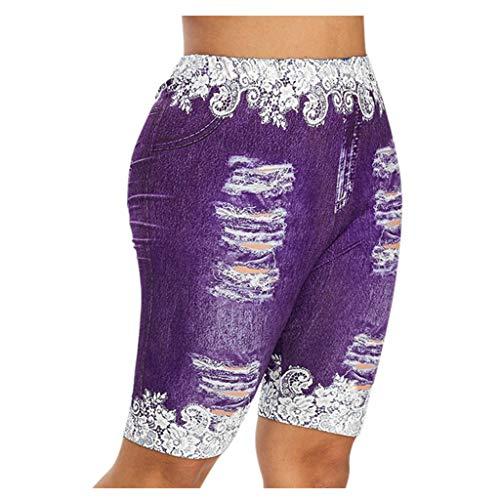 Xniral Hosen Damen Spitze Nähen Unecht Jeans Shorts Kurz Legging Caprihose Freizeithose Elastische Taille Schmetterling Drucken Jogginghose(b-Lila,M)
