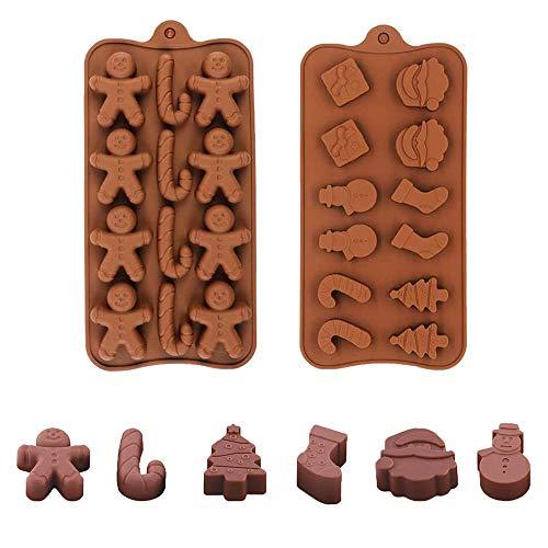 Set di stampi per cioccolatini natalizi, 2 stampi per cioccolatini in silicone con forme di pupazzo di neve, albero, calzini, confezione regalo, Gingerbread Man, Candy Canna per decorazioni natalizie
