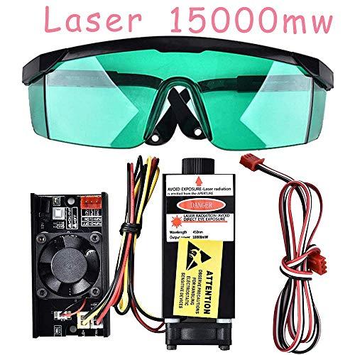 4YANG 15 Watt 450nm TTL PWM Control Blue Laser Modul, DC 12 V Focal Einstellbarer Laserkopf, 220V Laserkopf Graviermodul + Schutzbrille für DIY Laserengraver Maschine