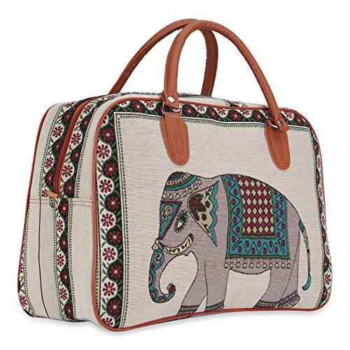 NFI essentials Elephant Print Canvas Stylish Trendy Travel Bag for Men Women | Duffle Canvas Travelling Bag | Duffel Luggage Tote Air Bag Big Size