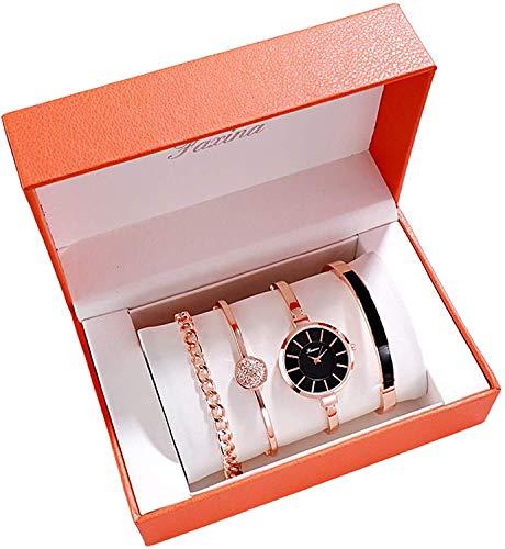 Cakunmik Juego de pulsera de cuarzo de acero inoxidable impermeable para mujer, reloj de pulsera de oro rosa con forma de corazón y diamantes