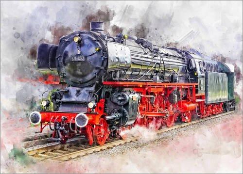 Leinwandbild 70 x 50 cm: Schlepptenderlokomotive der Deutschen Reichsbahn für den Schnellzugdienst Baureihe 01 von Peter Roder - fertiges Wandbild, Bild auf Keilrahmen, Fertigbild auf echter Leinwa.