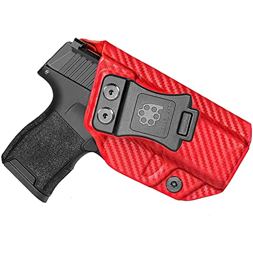 Amberide IWB KYDEX Holster Compatible with Sig Sauer P365 / P365 SAS Pistol | Inside Waistband | Adjustable Cant | US KYDEX Made (Blood Red Carbon Fiber, Left Hand Draw (IWB))