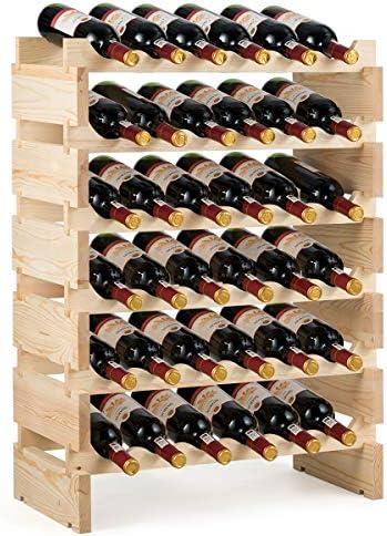 Giantex 36 Bottle Modular Wine Rack 6 Tier Wine Display Shelves Stackable Free Standing Wine product image