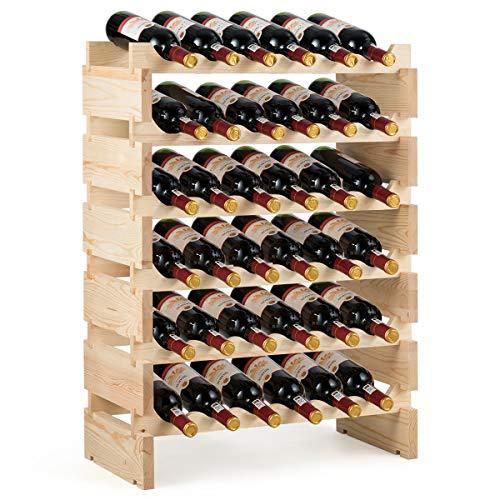 COSTWAY Weinregal Holz, Weinständer Flaschenregal 6 Höhe zur Auswahl, Holzregal stabil, Weinschrank Flaschenständer (für 36 Flaschen)