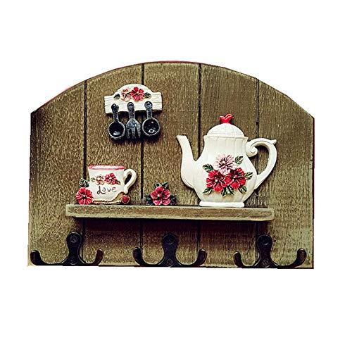 Hängender Schlüsselhänger des Weinleseküchenhakens, kreative hölzerne Wandbehangraumdekorationswandbehang-Wanddekoration