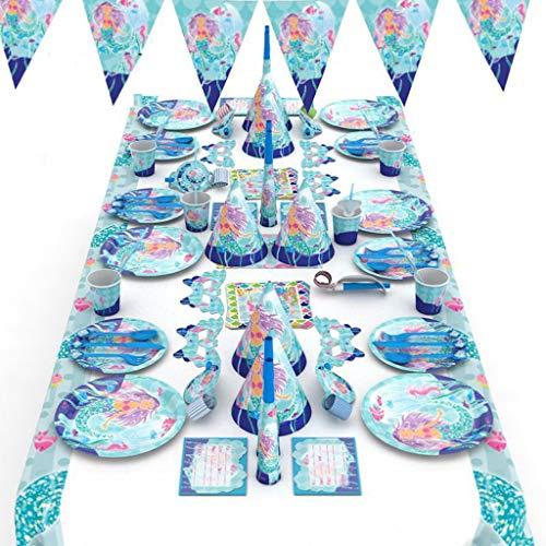 Sirena Decoracion Fiesta Decoración de Fiesta de Cumpleaños para Niña Globos desechable Platos Tenedores Cucharas Cuchillos Vasos Pajitas Servilletas Gorros Mantel ( Color : Blue )