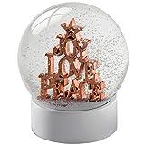WeRChristmas Joy Love Peace Snow Globe Christmas Decoration, 12 cm - Rose Gold/Multi-Colour