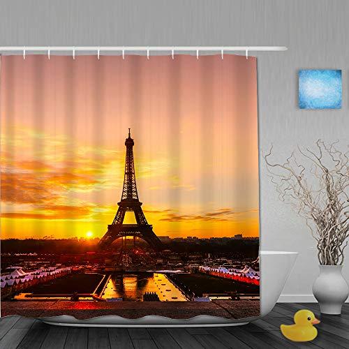 AMIGGOO Cortina de Ducha,Vista de la Torre Eiffel al Amanecer, París,Tejido de poliéster - con Gancho,180x210