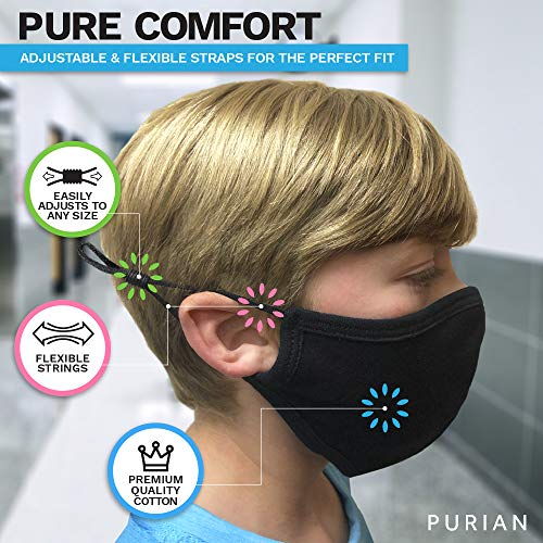 Purian Kids Face Mask, Reusable with Adjustable Ear Straps, Premium Multi Layer Antimicrobial Cotton Fabric, Fits Toddlers to Teens, Small   Black   2 Pack
