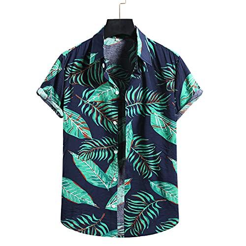 Camisa de Manga Corta Estampada con Solapa para Hombre, Color de Contraste a la Moda, Delgada, cmoda, Simple, para Fiesta en la Playa, Camisa Hawaiana bsica, Parte Superior XXL