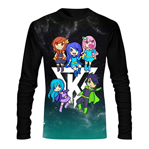 Herren T-Shirt Its-Funneh The K-rew Langarm O-Neck Casual Raglan Tops 3D Druck Tee Shirt Gr. 56, Schwarz