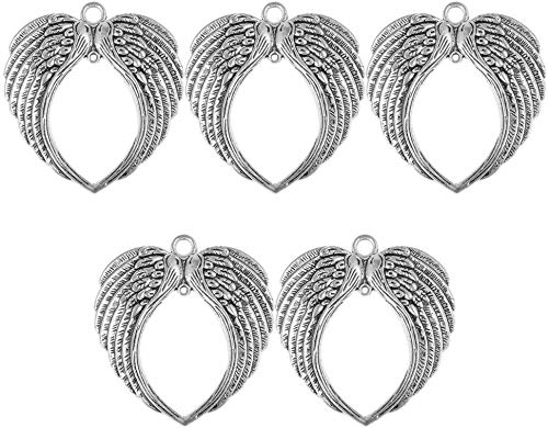 5pcs Angel Wing Pendant Charms Beads for Jewelry Making Purse Pendant Charms Ornaments - Antique Silver