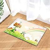 N-brand Alfombra de Puerta Alfombra Interior/Puerta de Entrada/Ducha Alfombras de Entrada de baño Alfombras Felpudo, Entradas de Piso, 40 x 60 cm.Seta Prado Flores Rainbow.