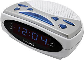 "HANNLOMAX HX-137CR Alarm Clock Radio, PLL AM/FM Radio, Dual Alarm, 0.9"" Blue LED Display (White)"