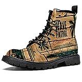 Vintage retro surf van con palmas y una gaviota zapatos impermeables planos con cordones botines de tacón bajo botas de combate de trabajo, color, talla 43.5 EU