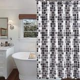 KLY- Cortina de ducha de poliéster, decorativa de baño, de tejido impermeable y mosaico ligero, fácil de lavar, resistente al óxido (120 x 180 cm)