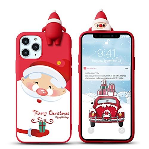 Yoedge Natale Custodia per Apple iPhone 7 Plus / 8 Plus 5,5', Rosso Silicone Matte Cover con Carino 3D Bambola Serie Natalizie, Sottile Antiurto TPU Protezione Case per iPhone 8 Plus, Babbo Natale 2