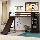 Twin Loft Bed with Slide and Drawers, Wood Storage Loft Bed Frame with Staircase, Twin Size, Espresso