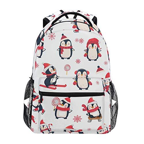 Christmas Penguin Backpacks Travel Laptop Daypack School Bags for Teens Men Women