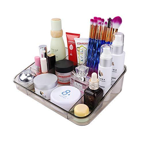Organizador de Maquillaje, Caja acrílica Estante Cosméticos Joyería Bandeja Organizadora Clear con 8 Compartimentos para encimera de vanidad Baño Cajones