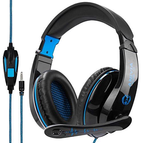 PS4 Gaming Headset for Xbox One, PC Headset with Microphone Noice Cancelling Stereo Surround Sound Headphone with LED Light Intense Bass for PC Laptop Mac (Black Blue)