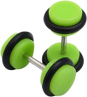 Onefa 2X Acrylic Fake Cheater Ear Stretcher Expander Plug Tunnel Barbell Earrings