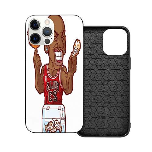 Funda de goma para iPhone 12 con diseño de hombre negro sosteniendo un balón de baloncesto para iPhone 12 y iPhone 6.7