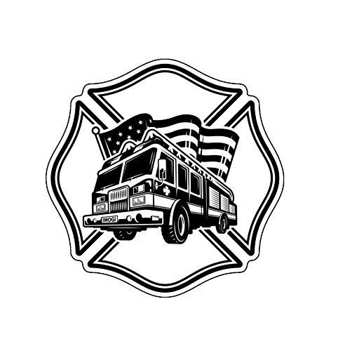 WickedGoodz Firefighters Emblem Vinyl Decal - Fire Department Bumper Sticker - Perfect for Laptops Tumblers Windows Cars Trucks Walls Cups