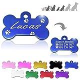 Hueso para Mascotas pequeñas-Medianas con Patas Placa Chapa Medalla de identificación Personalizada para Collar Perro Gato Mascota grabada (Azul)