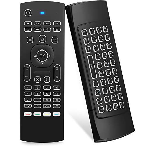ILEBYGO Air Mouse for Android tv Box, Mini Wireless Keyboard Air Remote Mouse Control with Backlit MX3 IR Learning for Android TV Box, PC, Projector, HTPC etc.