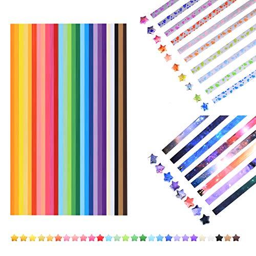 Origami Sterne Papier leuchtendes, Sterne Papierstreifen, Glücksstern Papier für DIY Handwerk, Sternenhimmel Muster Papier, 2100 Streifen