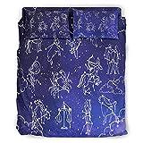Zhouwonder Star Constellation - Funda de cama hipoalergénica, ultra suave, lujosa, ligera, para todas las estaciones para niñas, niños, dormitorio, constelación de estrellas, color blanco 203 x 230 cm