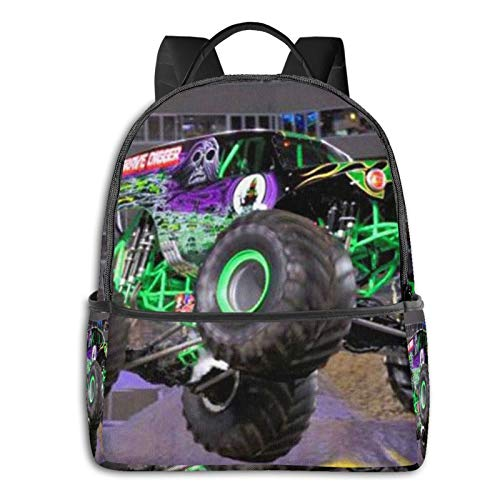 Cartoon Monster Truck Fashion Multi-Function Printed Backpack Light and Portable with Smooth Zipper Bookbag Laptop Shoulder Bag for Men Women