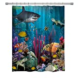 summer007 Ocean Decor Shower Curtain Underwater World with Goldfish Starfish Jellyfish Depth Diving Concept, Fabric Ocean Bathroom Decor Set with Hooks, 71X 71 in