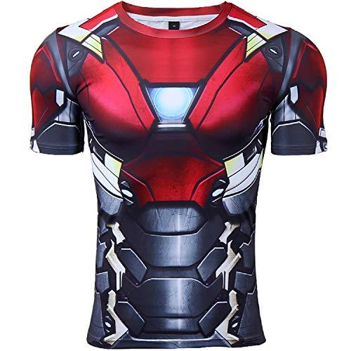 Mens Compression Shirt Iron Man 3D Printed T Shirts Fitness Tops (Medium, Iron Man)