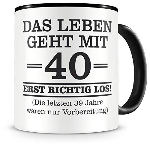 Samunshi® Tasse mit Spruch witzige Geschenke zum 40 Geburtstag Mann Frau Oma Opa Geburtstag Geschenkideen zum 40 Geburtstag (40 Jahre 300ml schwarz/schwarz)