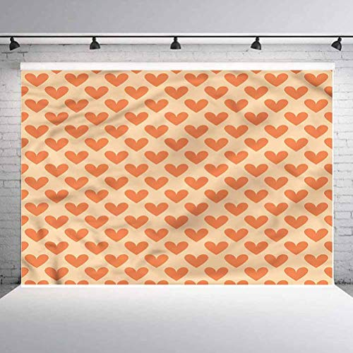 6x6FT Vinyl Photo Backdrops,Valentine,Orange Tone Heart Shapes Background for Selfie Birthday Party Pictures Photo Booth Shoot