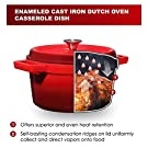 Bruntmor, Enameled Cast Iron Dutch Oven Casserole Dish 6.5 quart Large Loop Handles & Self-Basting Condensation Ridges On Lid (Fire Red) #4