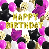 Magenta Happy Birthday Balloons Kit - Bright Hot Pink Barbie Color Birthday Party Decorations Supplies for Girls Women with Gold Black Foil Banner Decor (Black Pink)