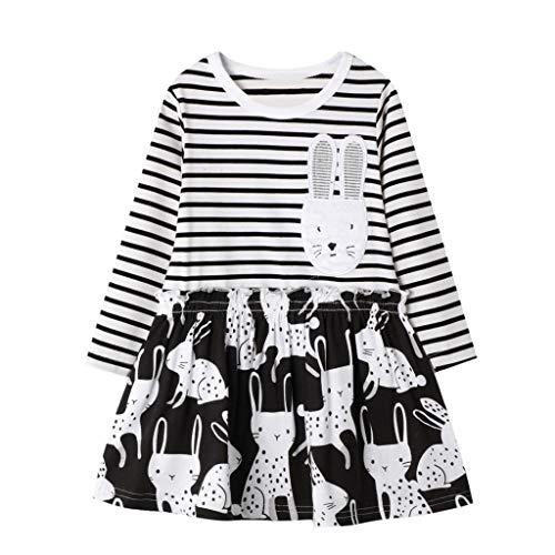 Fenverk Mädchen Kleider Streifen Langarm Baumwolle Herbst Winter T-Shirt Kleid Herbst Kleider Freizeitkleid Bunt Print Stickerei Wendepailletten Kleidung Gr. 80-128(F Schwarz,2-3 Jahre)