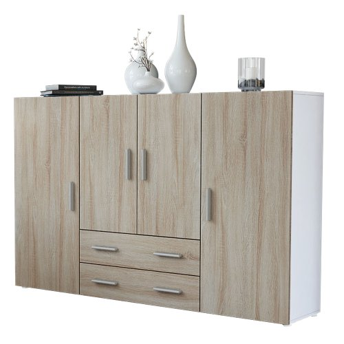 Vladon Highboard Sideboard Nora, Korpus in Weiß matt/Front in Eiche sägerau