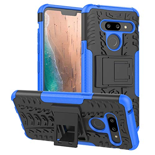 PUSHIMEI for LG G8 ThinQ Case,LG G8 Case,Heavy Duty Shockproof with Kickstand Hard PC Back Cover Soft TPU Dual Layer Protection Phone Stand Case Cover Compatible with LG G8 ThinQ (Blue)