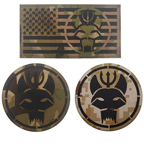3PCS Seal Team Trident Cat Head Infrared Reflective IR Military Patch - Tactical Military Morale Embroidered Fabric Patches Logo Badges DIY Applique - Fastener Hook and Loop Backing