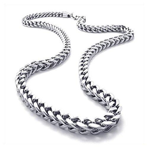 Summerwindy Joyeria Collar de Hombres, Collar de Cadena de Rey Motorista de Acero Inoxidable, Plata, 6 mm de Ancho, 55 cm de Longitud