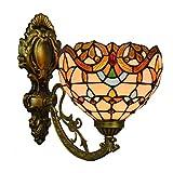 Apliques de pared Estilo de Tiffany luz de la pared de 8 pulgadas Shade Stained Glass aplique cubierta multicolor pared accesorio de la lámpara de la sala de estar dormitorio Lámpara de pared