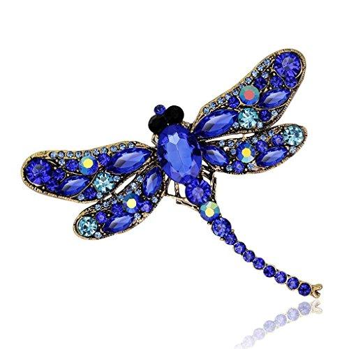 PULABO Broche de libélula con diamantes de imitación, broche de animales, para vestir, bufanda, broche elegante y popular